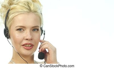 Sexy laughing woman talking on helpline, Headset...