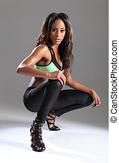 Sexy leggy african american model in stilettos - Sexy leggy...
