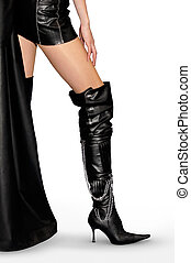 Sexy Legs and Stiletto Boots - Sexy woman in leather outfit ...