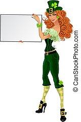 Sexy leprachaun girl with banner