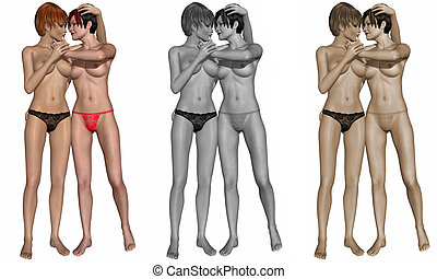 Sexy lesbian couple - 3d render of a sexy lesbian couple