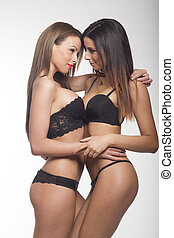 sexy, lesbienne couple, embrasser