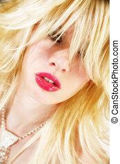 Sexy Lips - Beautiful blonde Hispanic American woman with...