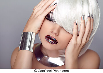 Sexy Lips. Beauty Girl. Fashion Haircut. Hairstyle. Stylish Fringe. Blond Short Hair Style