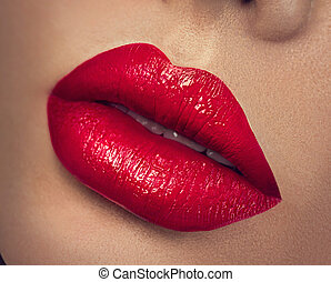 sexy, lips., belleza, labios rojos, maquillaje, primer plano