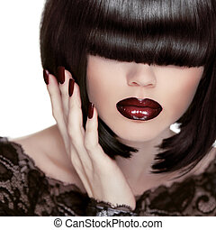 Sexy Lips. Manicure and Makeup. Lipstick. Fashion Girl. Fringe. Black Short Hair. Haircut.