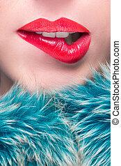 sexy, lips., piękno, czerwony, warga, makijaż, detail.