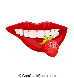 Sexy lush lips with ideal white teeth holding strawberry in mouth vector illustration isolated. Perfect woman smile, lipstick advertising poster