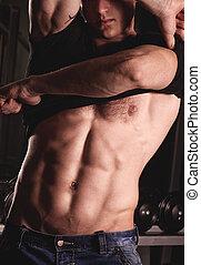 sexy, mâle, fitness, modèle
