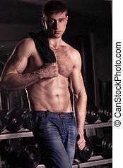 sexy, mâle, model., fitness