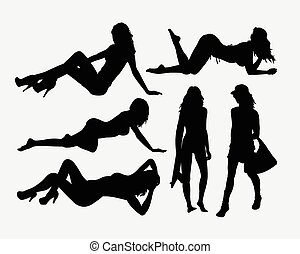 sexy, m�dchen, feiertag, silhouetten