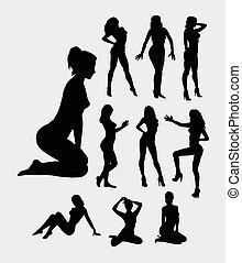sexy, m�dchen, silhouetten