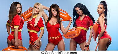 sexy, maître nageurs, cinq, femmes