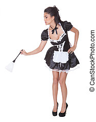 Sexy maid in skimpy uniform - Beautiful woman dressed as a...