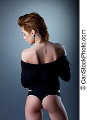 sexy, majtasy, kobieta, rozebrać, garnitur