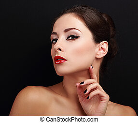 Sexy makeup flirting woman with black nails polish looking. Closeup