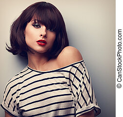 Sexy makeup short hair woman in casual clothes. Closeup vintage portrait