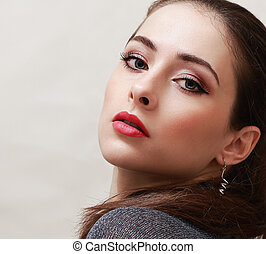 Sexy makeup with red lips woman looking. Closeup portrait
