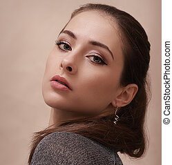 Sexy makeup woman looking hot. Closeup portrait