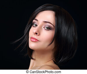Sexy makeup woman with short black hair