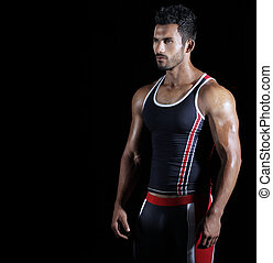 Sexy male athlete - Portrait of a young fit athlete in ...