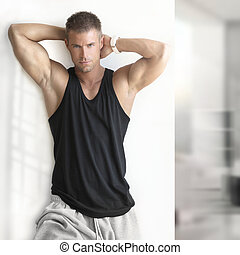 Sexy male fitness model - Portrait of sexy muscle man posing...