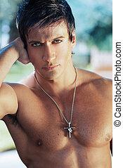 Sexy male model face