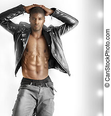 Sexy male model - Fashion portrait of a good looking young...