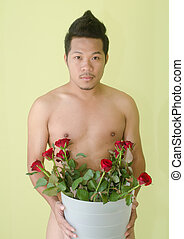 Sexy Male With Rose