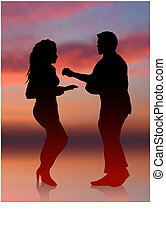 sexy man and woman dancing sunset internet background