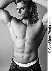 sexy man  -  black and white male model topless sexy torso