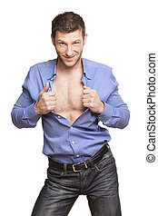 Sexy Man - handsome athletic man opens his blue shirt and ...