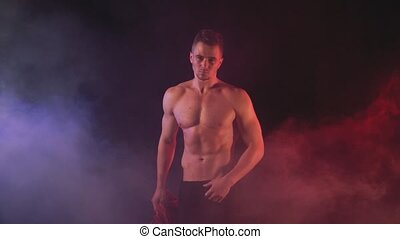 Sexy man in in color smoky background, 1920x1080
