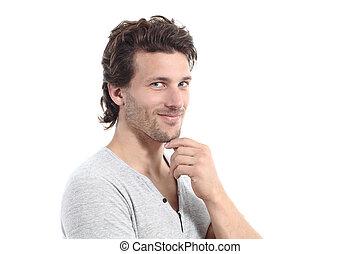 Sexy man looking at camera