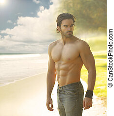 Sexy man - Portrait of a beautiful shirtless man in jeans...