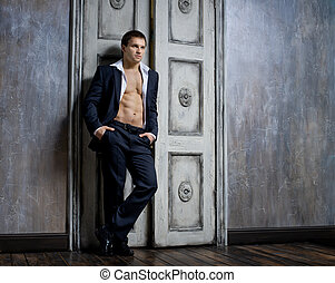 sexy man - the very muscular handsome sexy guy in blue suit...