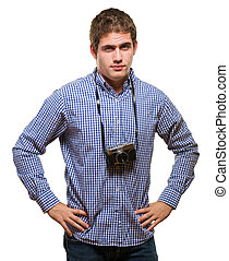 Sexy Man With A Vintage Camera