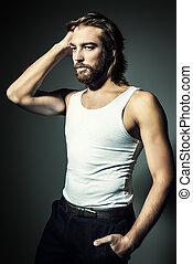sexy, mann, in, t-shirt