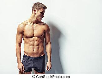 sexy, mann, junger, muskulös, porträt