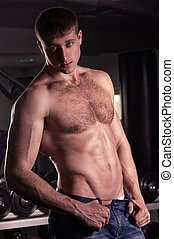 sexy, mannelijke , model., fitness
