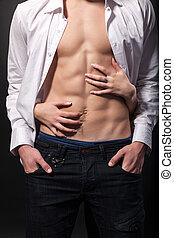 sexy, manos, mujer, torso, hombre