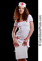 Sexy medical nurse with a folder