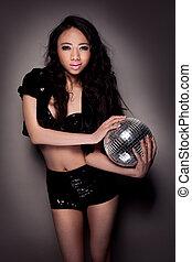 sexy, meisje, bal, vasthouden, disco