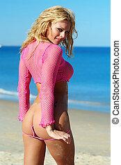 sexy, meisje, vervelend, roze, fishnet, bovenzijde, &, thong