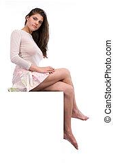 sexy, meisje, voetstuk, zittende