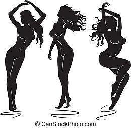 sexy, meisje, vrouw, silhouettes