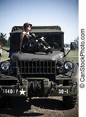 sexy, militaer, frau