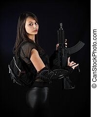 sexy, militar, mujer