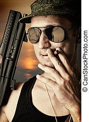 sexy military man wearing  sunglasses