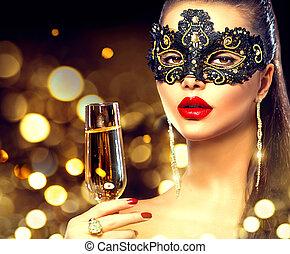 sexy, modèle, femme, à, verre champagne, porter, vénitien, masque mascarade